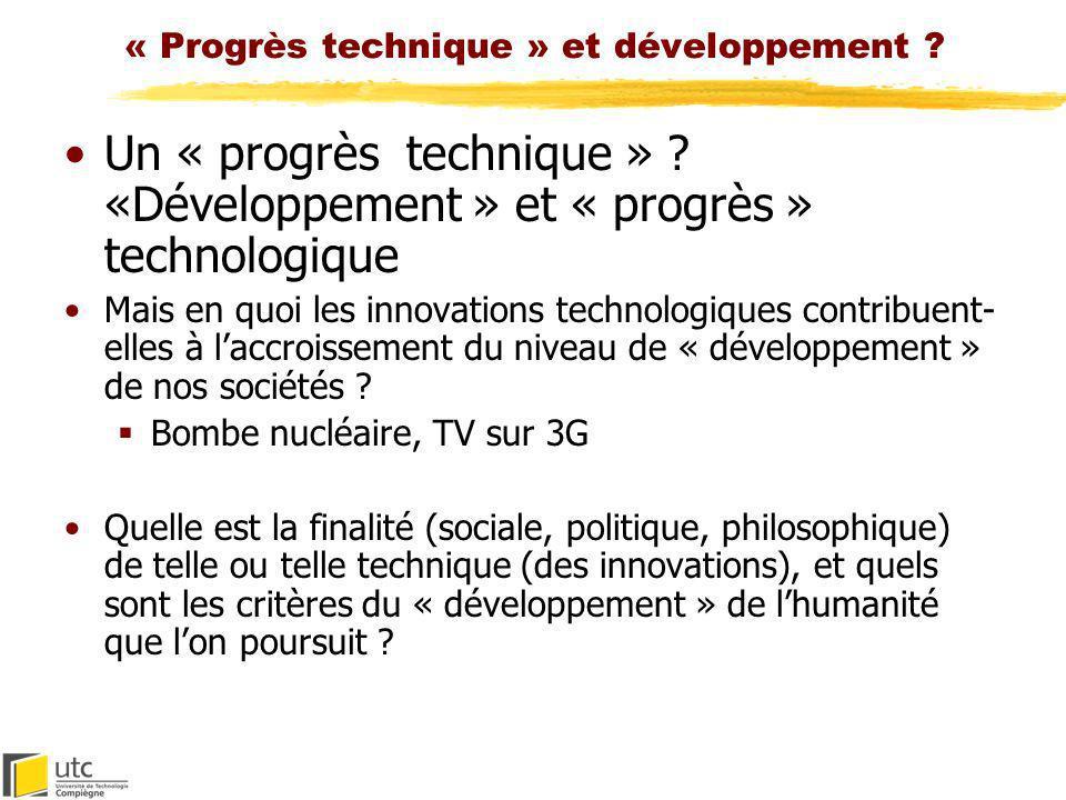 « Progrès technique » et développement