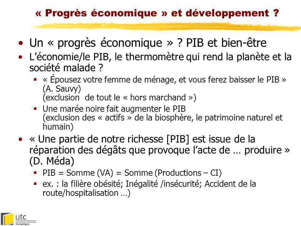 « Progrès économique » et développement