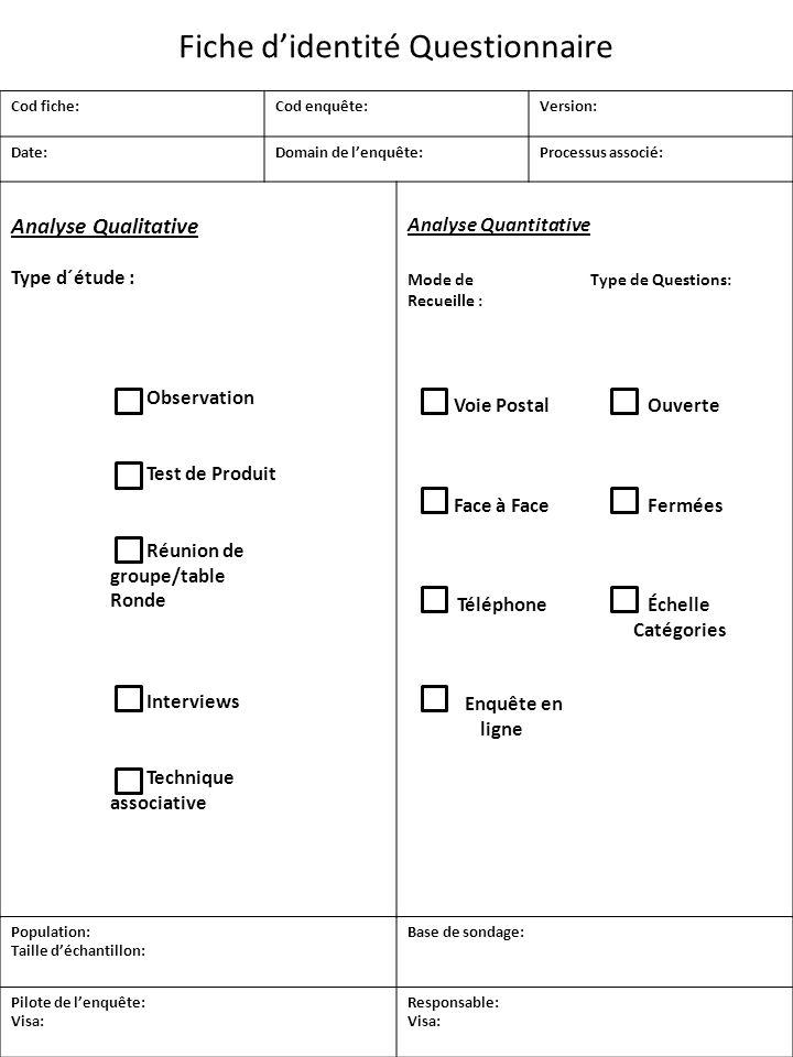 Fiche d'identité Questionnaire