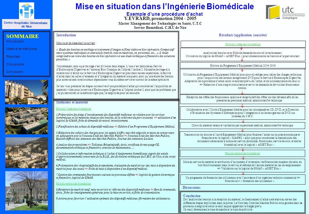 Mise en situation dans l'Ingénierie Biomédicale Exemple d'une procédure d'achat