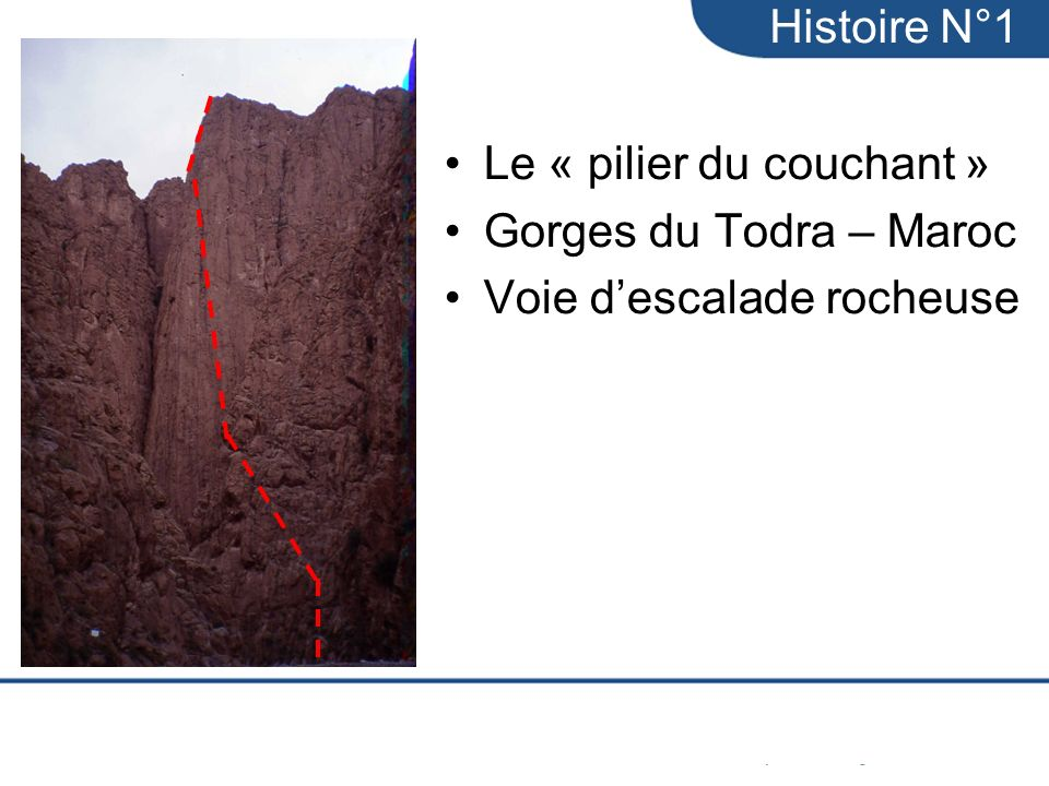 Histoire N°1 Le « pilier du couchant » Gorges du Todra – Maroc Voie d'escalade rocheuse