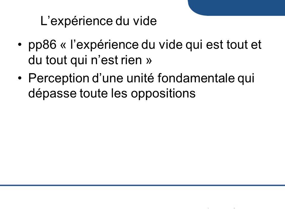 L'expérience du vide pp86 « l'expérience du vide qui est tout et du tout qui n'est rien »