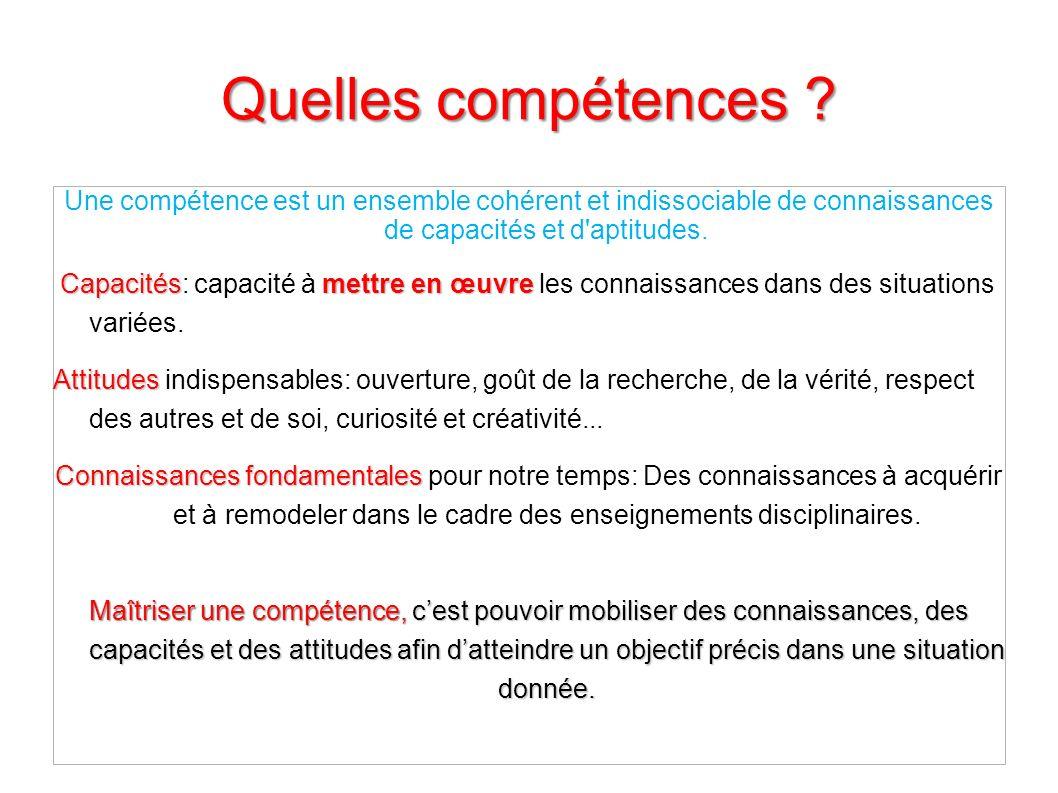 Quelles compétences Une compétence est un ensemble cohérent et indissociable de connaissances de capacités et d aptitudes.