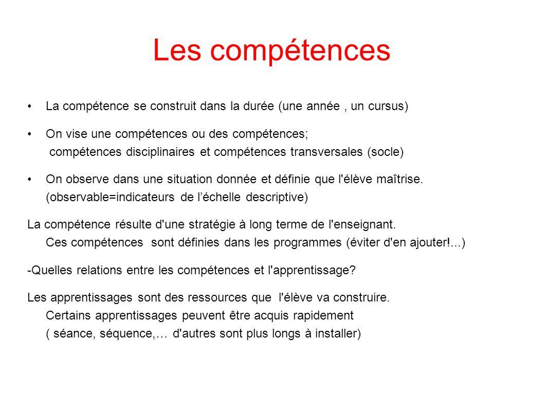 Les compétences La compétence se construit dans la durée (une année , un cursus)