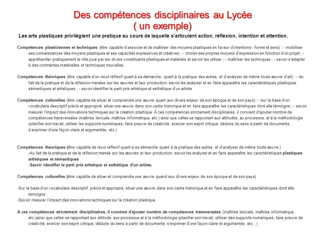 Des compétences disciplinaires au Lycée ( un exemple)