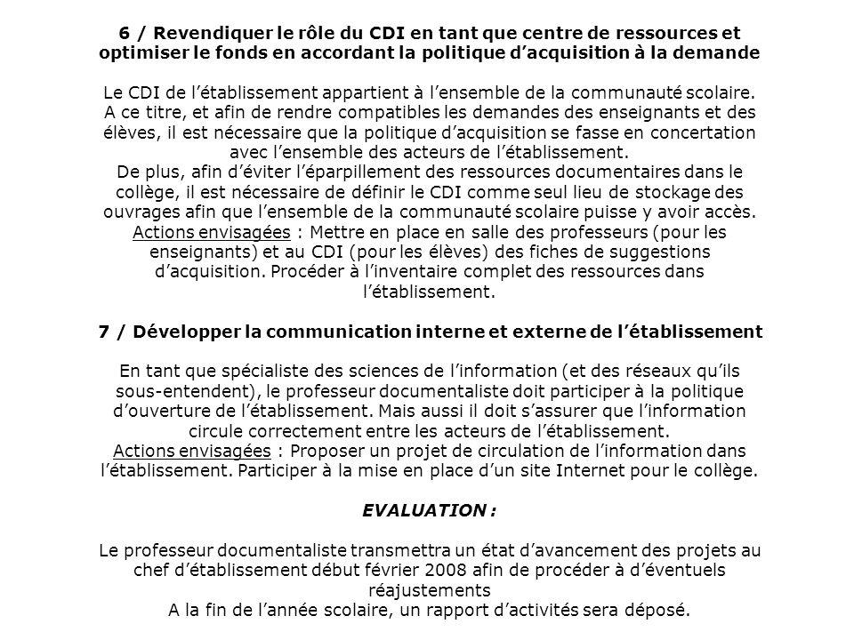6 / Revendiquer le rôle du CDI en tant que centre de ressources et