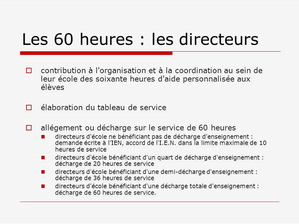 Les 60 heures : les directeurs