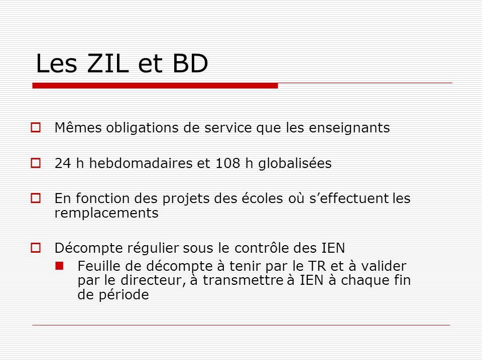 Les ZIL et BD Mêmes obligations de service que les enseignants