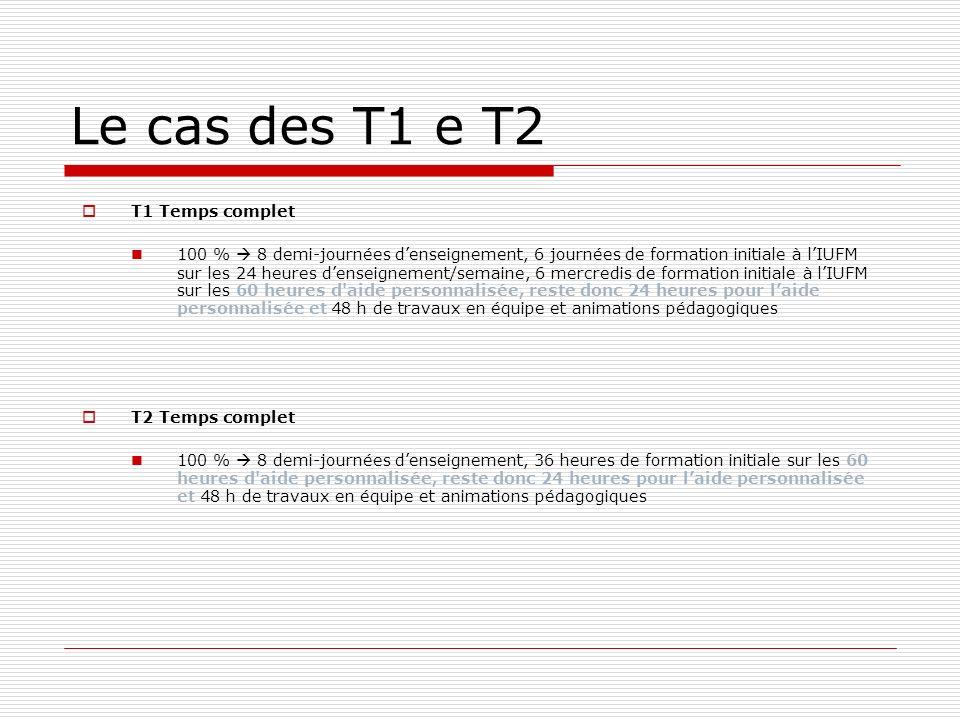 Le cas des T1 e T2 T1 Temps complet