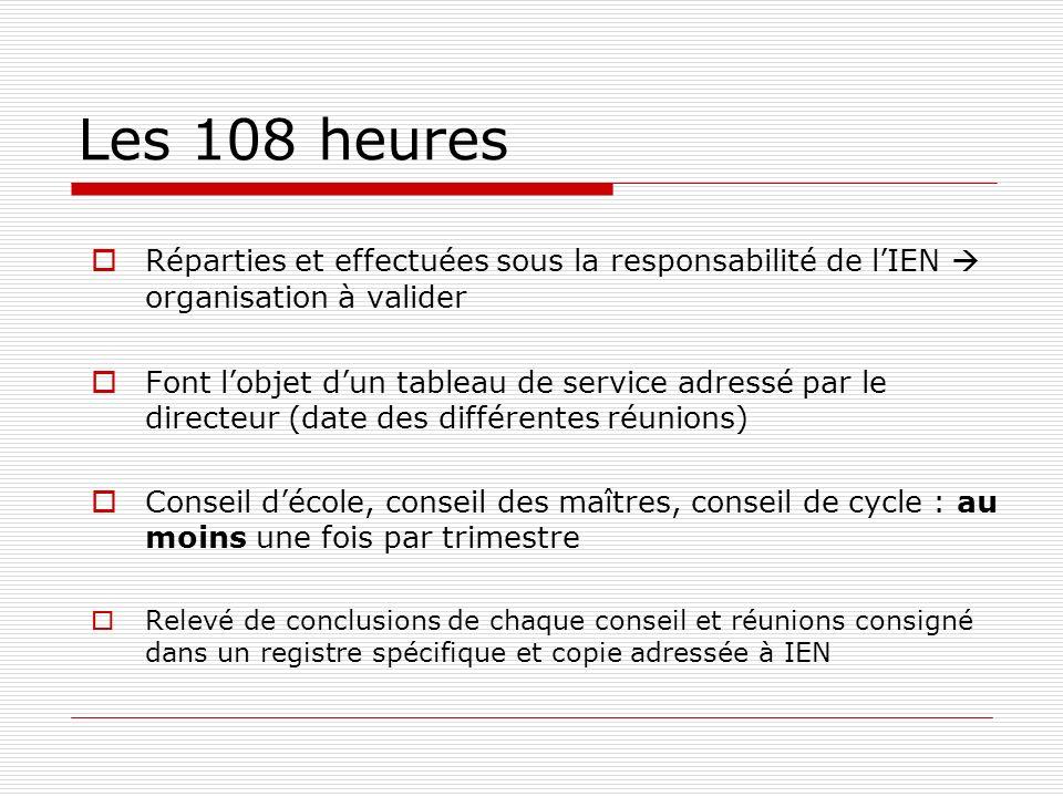Les 108 heures Réparties et effectuées sous la responsabilité de l'IEN  organisation à valider.
