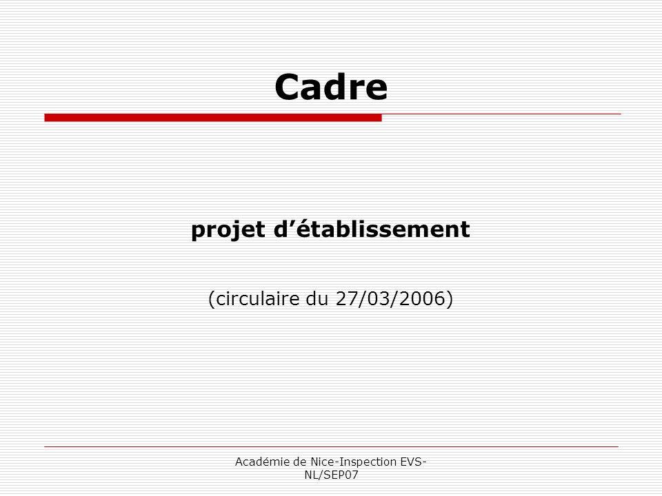 Cadre projet d'établissement (circulaire du 27/03/2006)