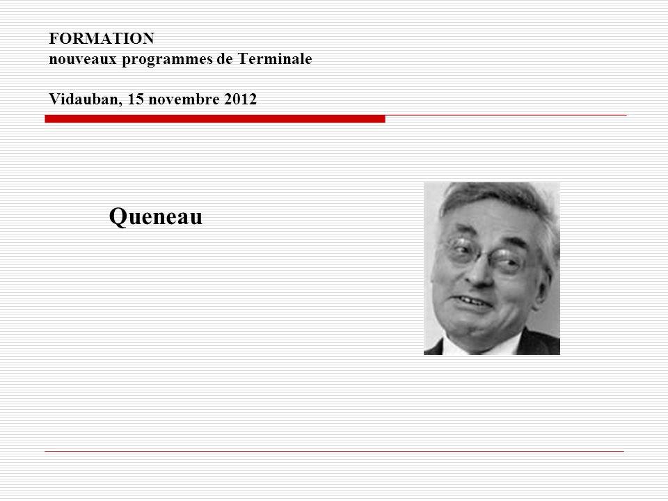 FORMATION nouveaux programmes de Terminale Vidauban, 15 novembre 2012