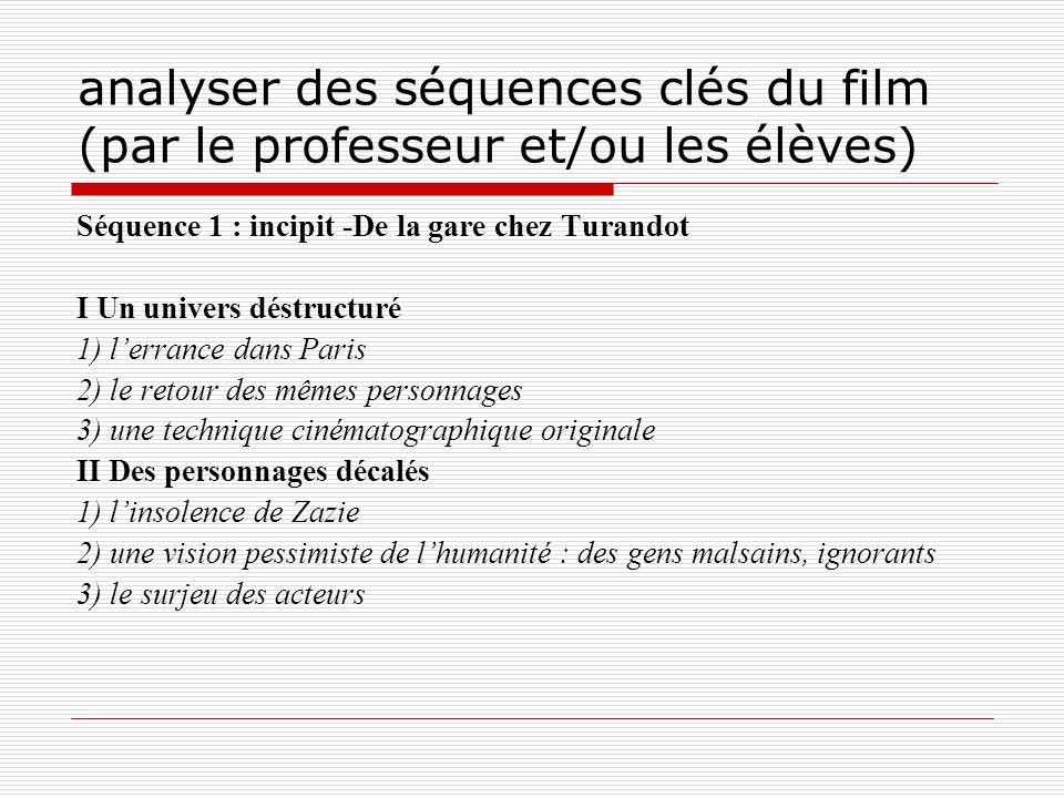 analyser des séquences clés du film (par le professeur et/ou les élèves)