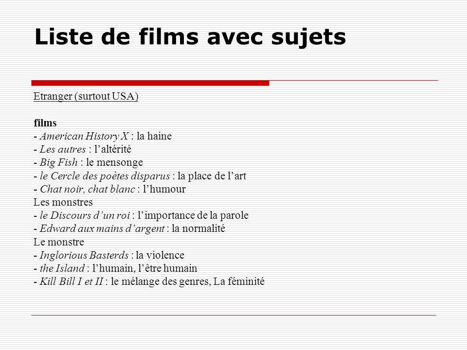 Liste de films avec sujets