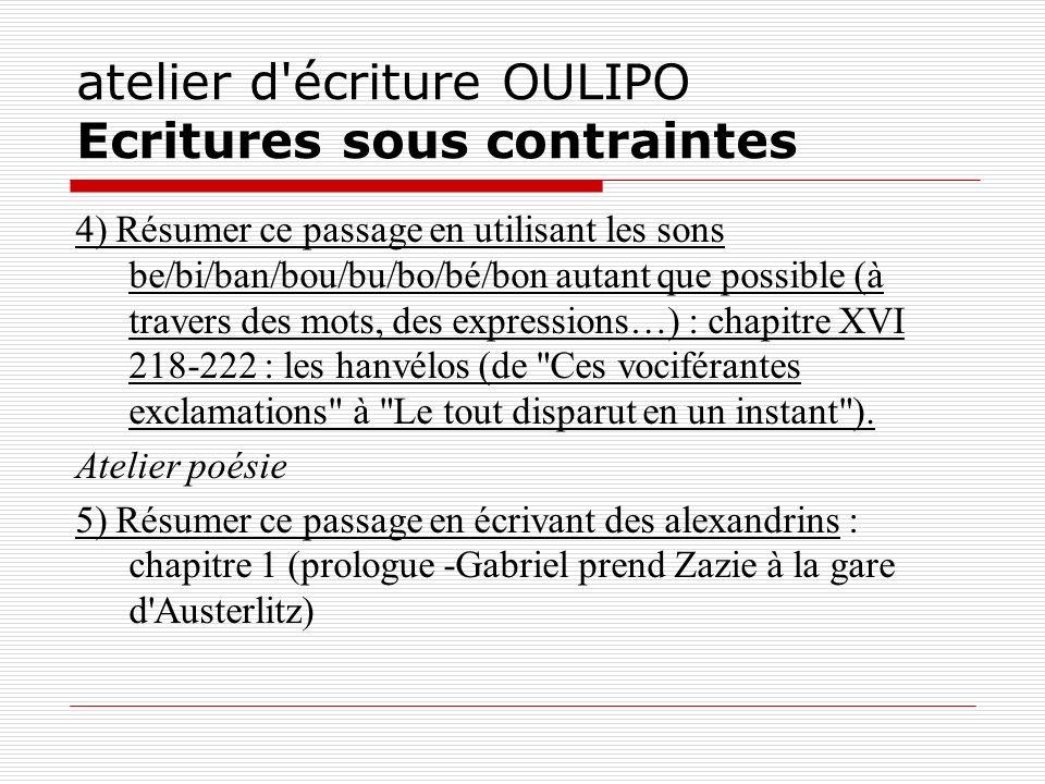 atelier d écriture OULIPO Ecritures sous contraintes