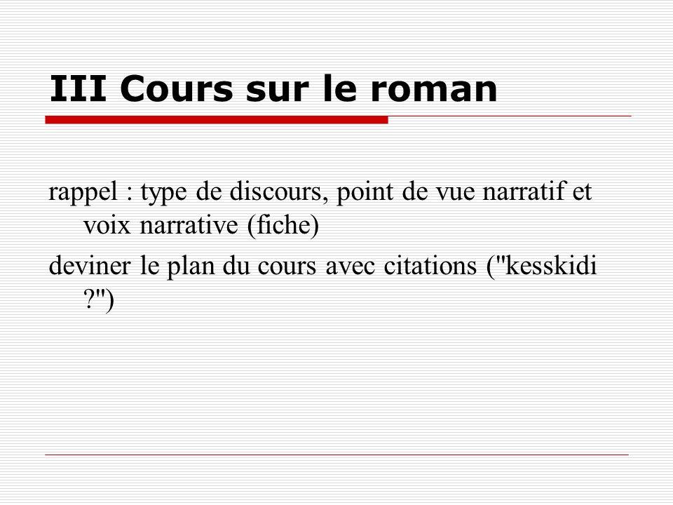 III Cours sur le romanrappel : type de discours, point de vue narratif et voix narrative (fiche)