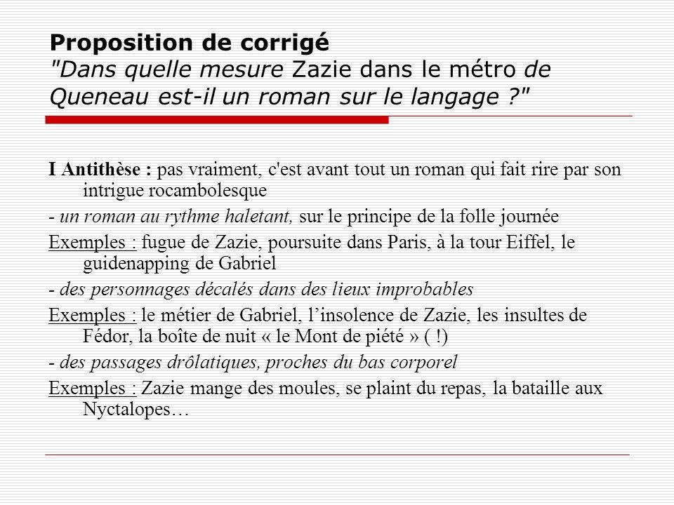 Proposition de corrigé Dans quelle mesure Zazie dans le métro de Queneau est-il un roman sur le langage