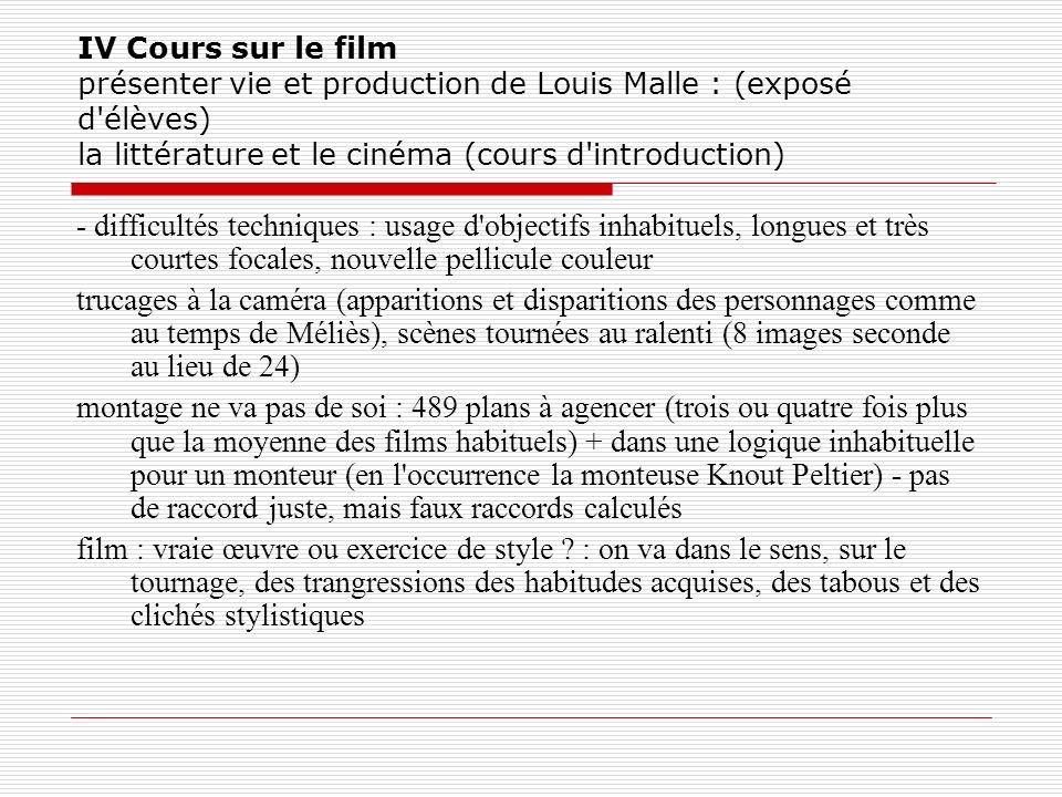 IV Cours sur le film présenter vie et production de Louis Malle : (exposé d élèves) la littérature et le cinéma (cours d introduction)