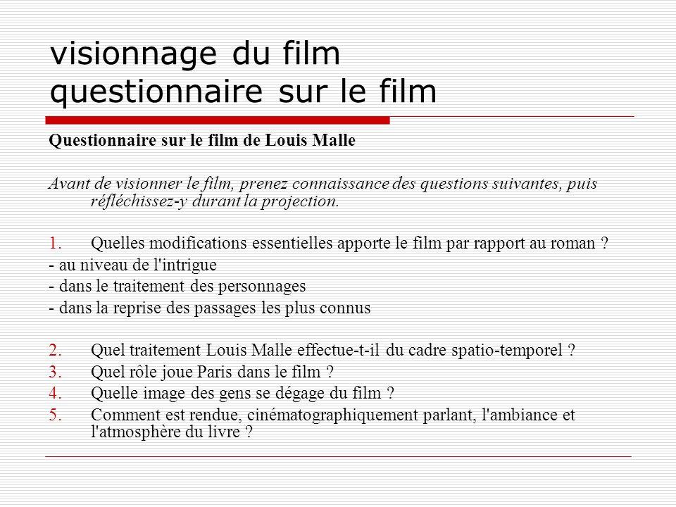 visionnage du film questionnaire sur le film