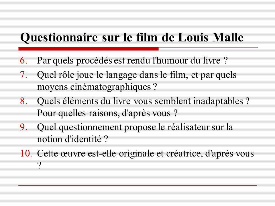 Questionnaire sur le film de Louis Malle