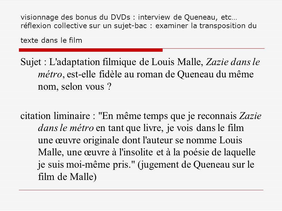 visionnage des bonus du DVDs : interview de Queneau, etc… réflexion collective sur un sujet-bac : examiner la transposition du texte dans le film