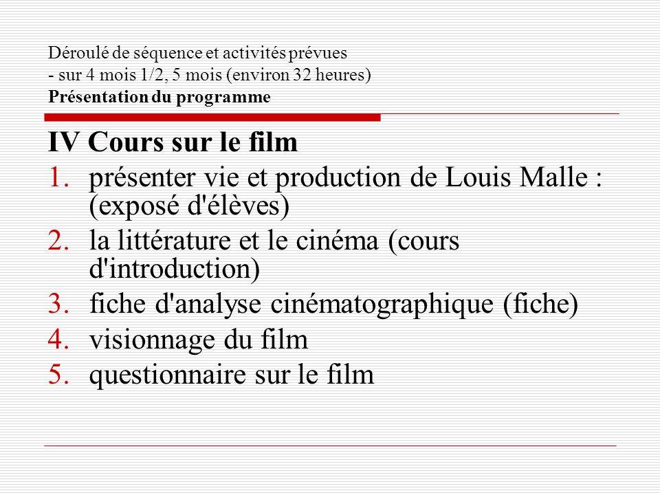 présenter vie et production de Louis Malle : (exposé d élèves)