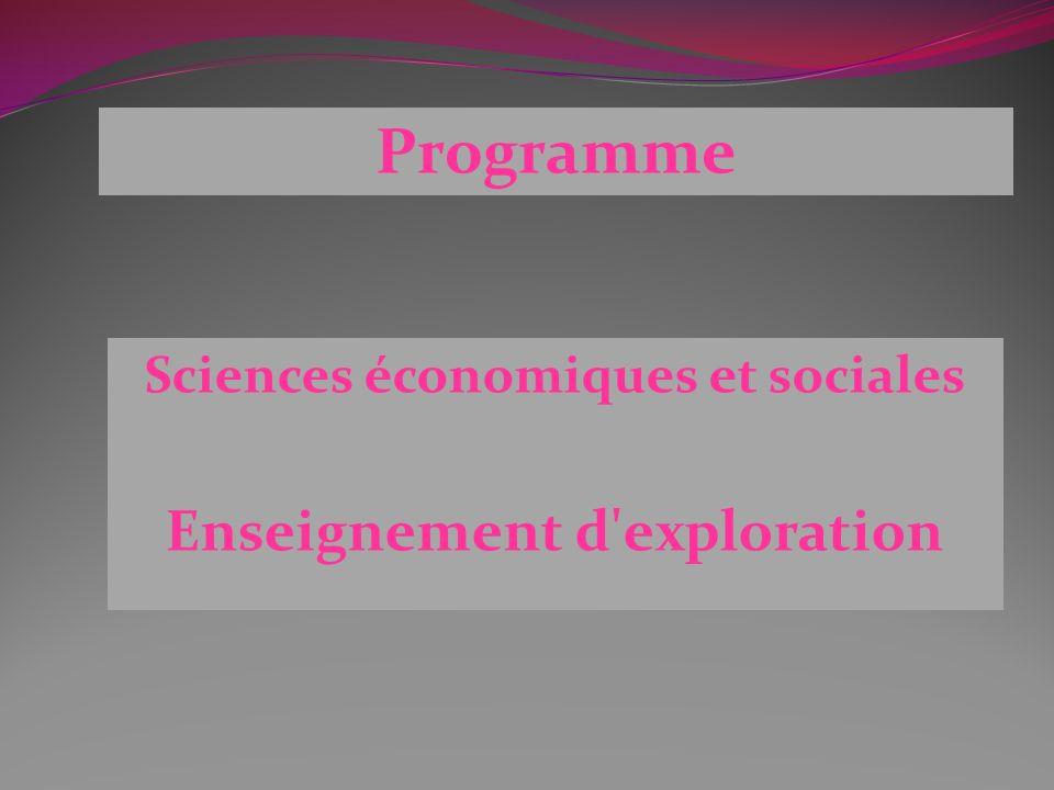 Sciences économiques et sociales Enseignement d exploration