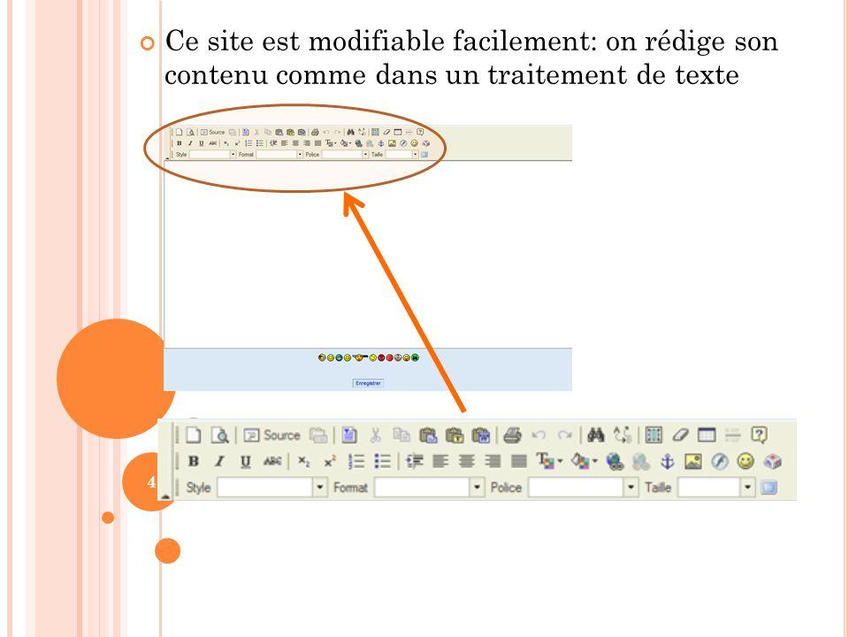 Ce site est modifiable facilement: on rédige son contenu comme dans un traitement de texte