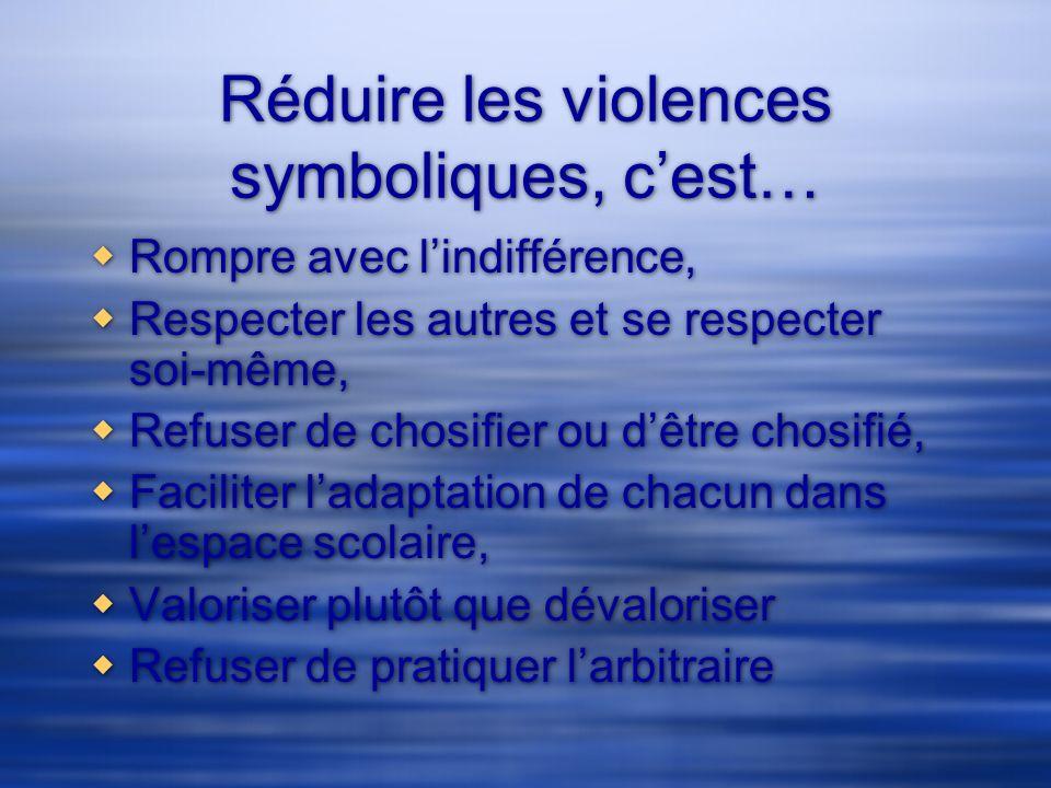 Réduire les violences symboliques, c'est…