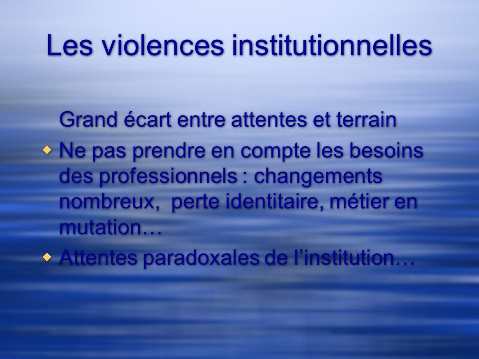 Les violences institutionnelles