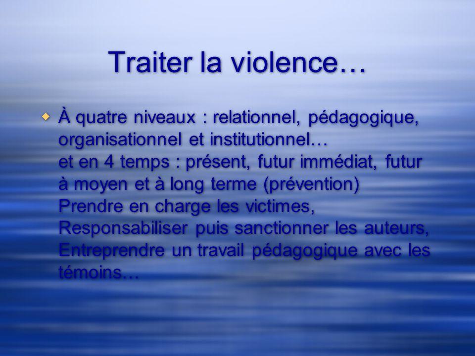 Traiter la violence…