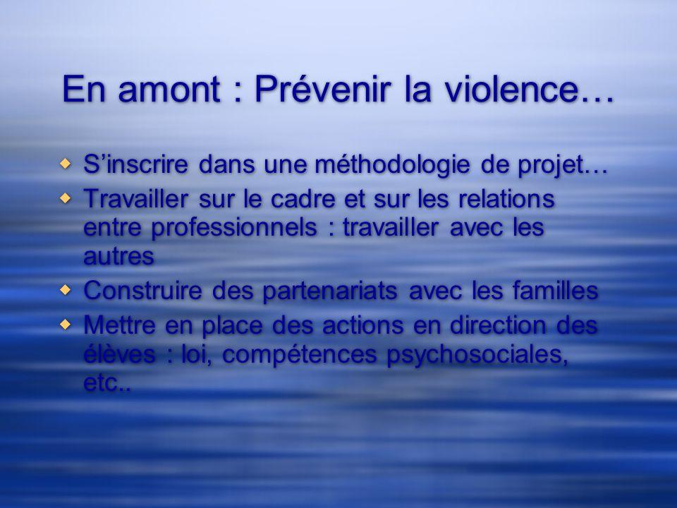 En amont : Prévenir la violence…