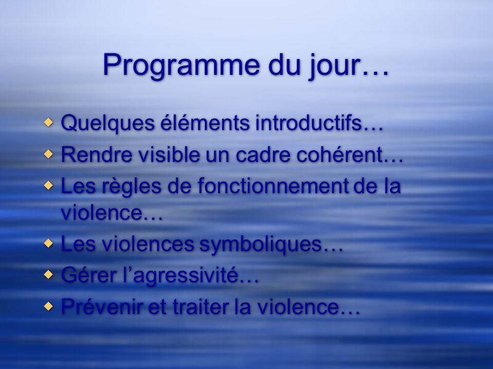 Programme du jour… Quelques éléments introductifs…