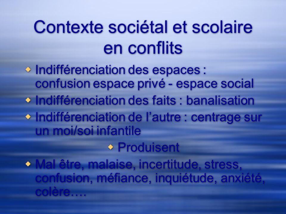 Contexte sociétal et scolaire en conflits