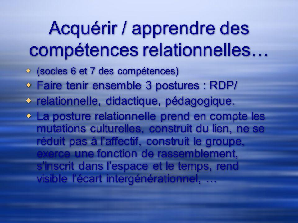 Acquérir / apprendre des compétences relationnelles…
