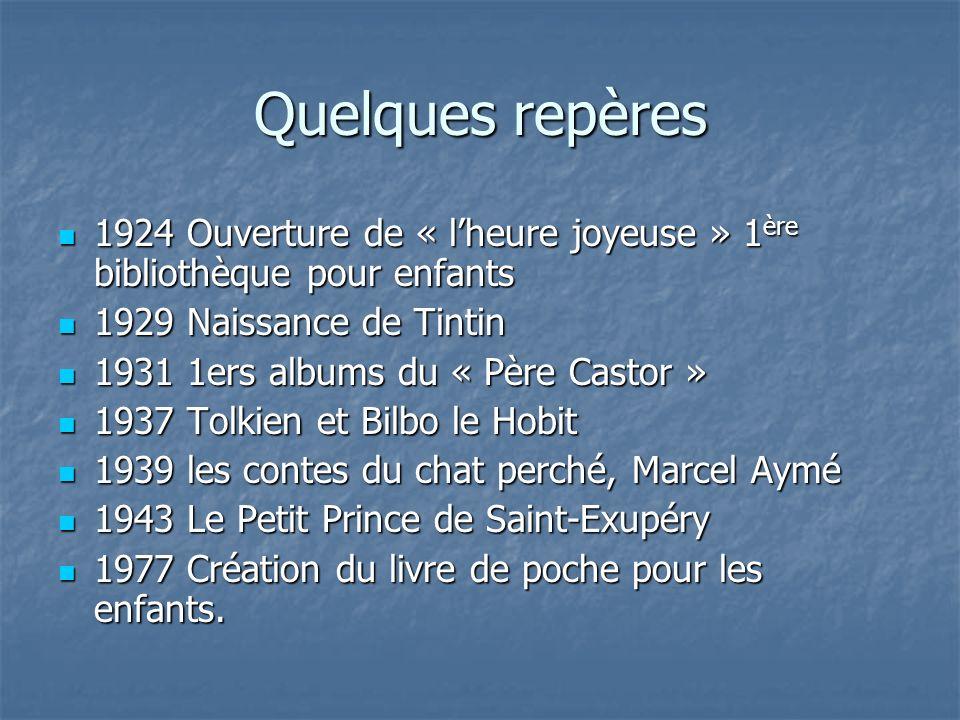 Quelques repères 1924 Ouverture de « l'heure joyeuse » 1ère bibliothèque pour enfants. 1929 Naissance de Tintin.