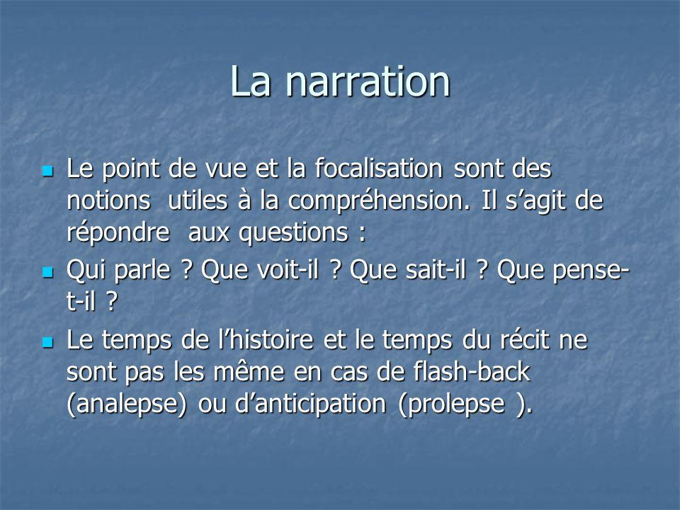 La narration Le point de vue et la focalisation sont des notions utiles à la compréhension. Il s'agit de répondre aux questions :