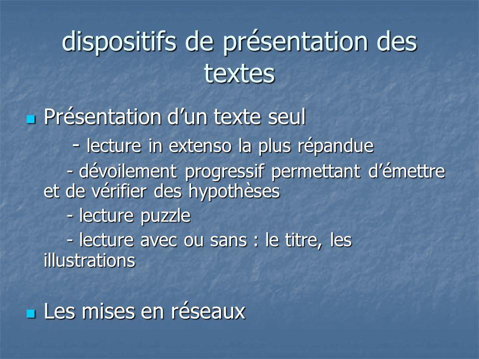 dispositifs de présentation des textes