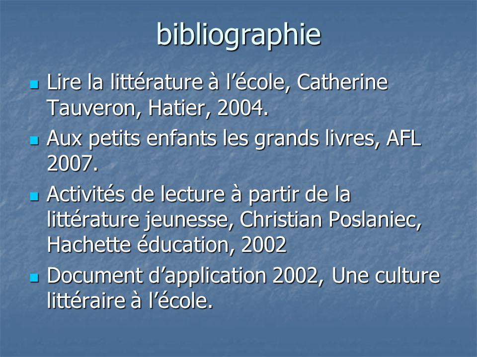 bibliographie Lire la littérature à l'école, Catherine Tauveron, Hatier, 2004. Aux petits enfants les grands livres, AFL 2007.