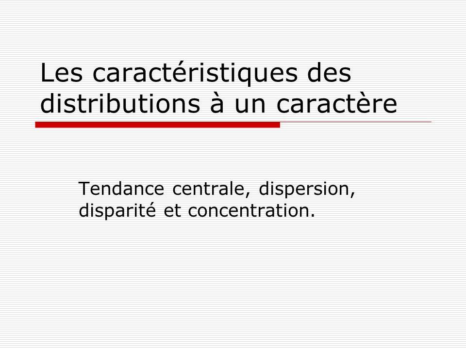 Les caractéristiques des distributions à un caractère