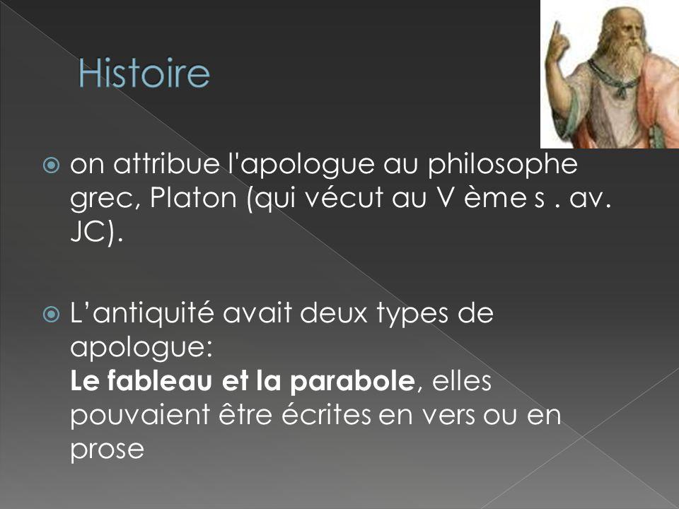 Histoire on attribue l apologue au philosophe grec, Platon (qui vécut au V ème s . av. JC).