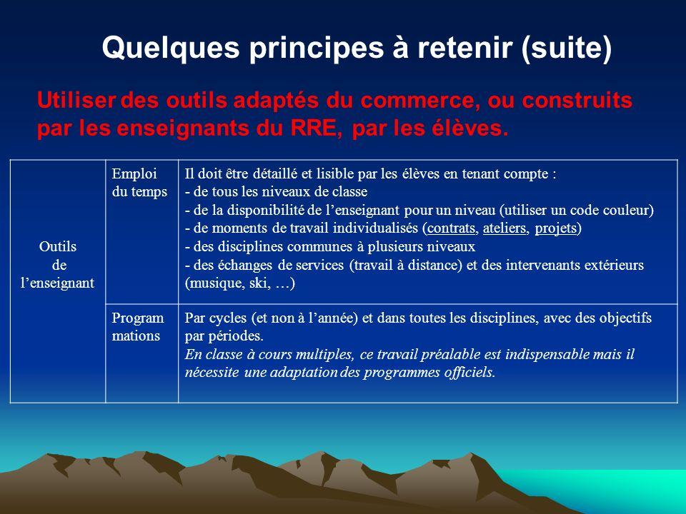Quelques principes à retenir (suite)
