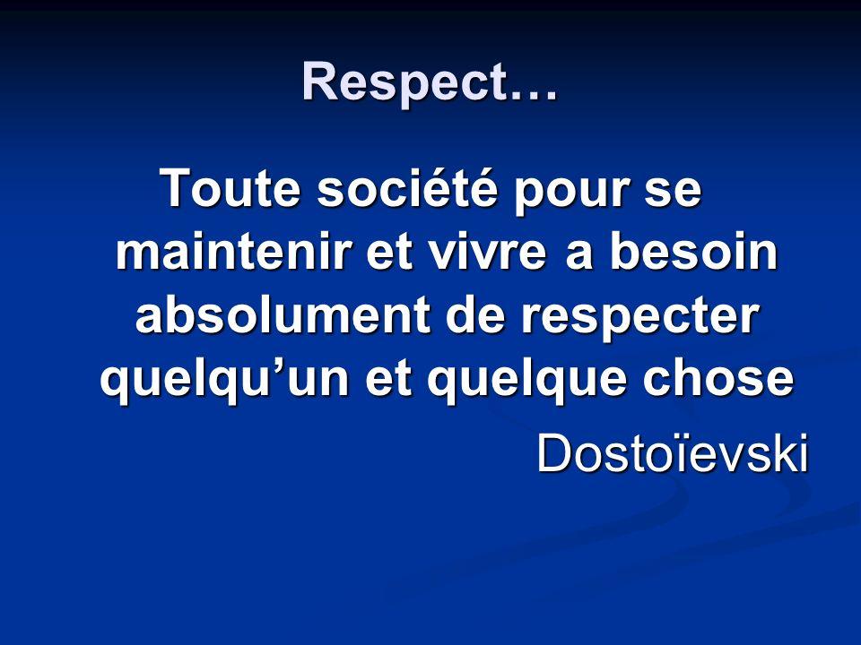 Respect… Toute société pour se maintenir et vivre a besoin absolument de respecter quelqu'un et quelque chose.