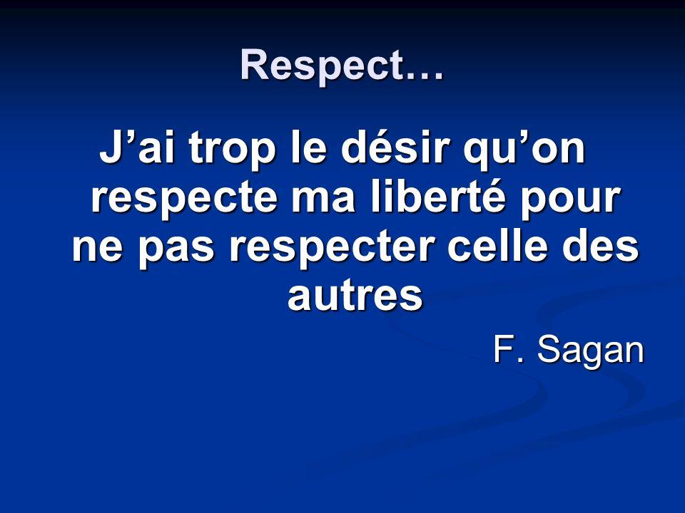Respect… J'ai trop le désir qu'on respecte ma liberté pour ne pas respecter celle des autres.