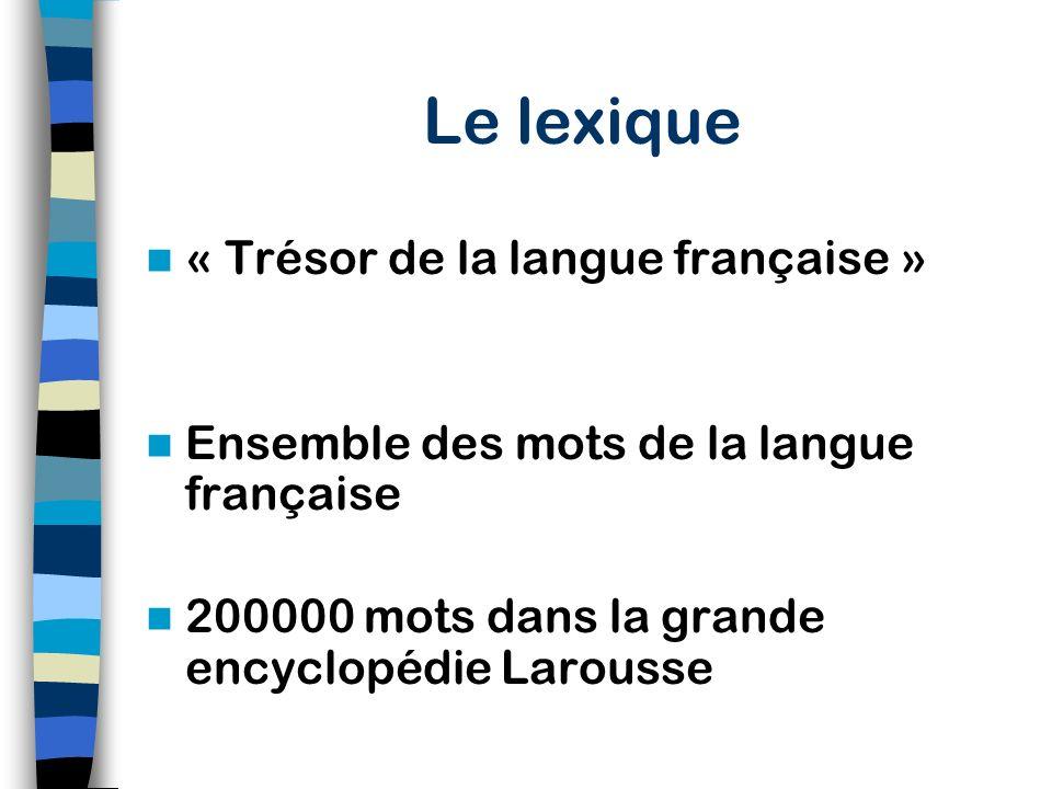 Le lexique « Trésor de la langue française »