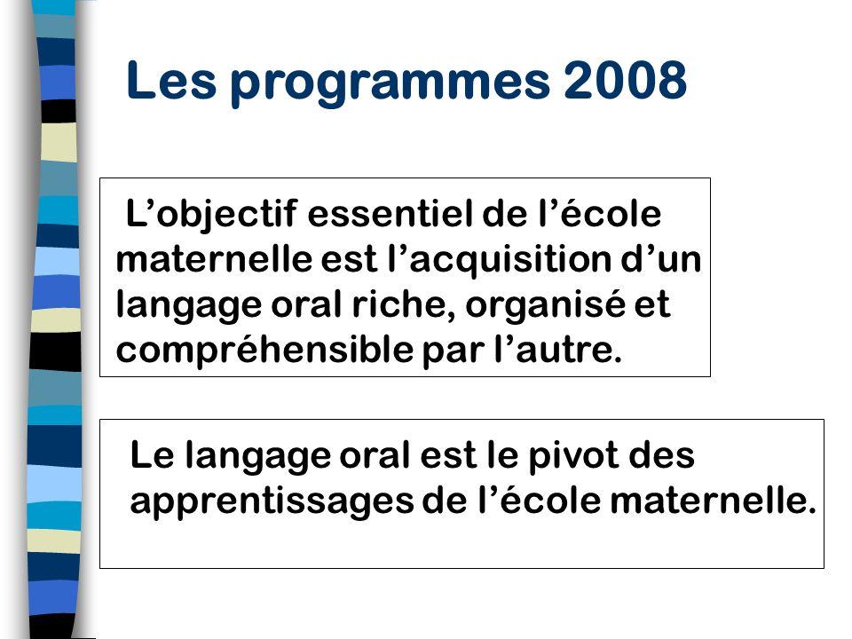 Les programmes 2008 L'objectif essentiel de l'école maternelle est l'acquisition d'un langage oral riche, organisé et compréhensible par l'autre.