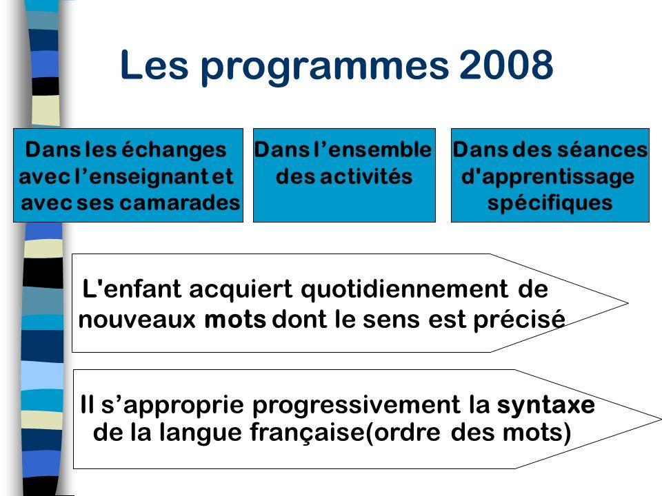 Les programmes 2008 Dans les échanges. avec l'enseignant et avec ses camarades. Dans l'ensemble.