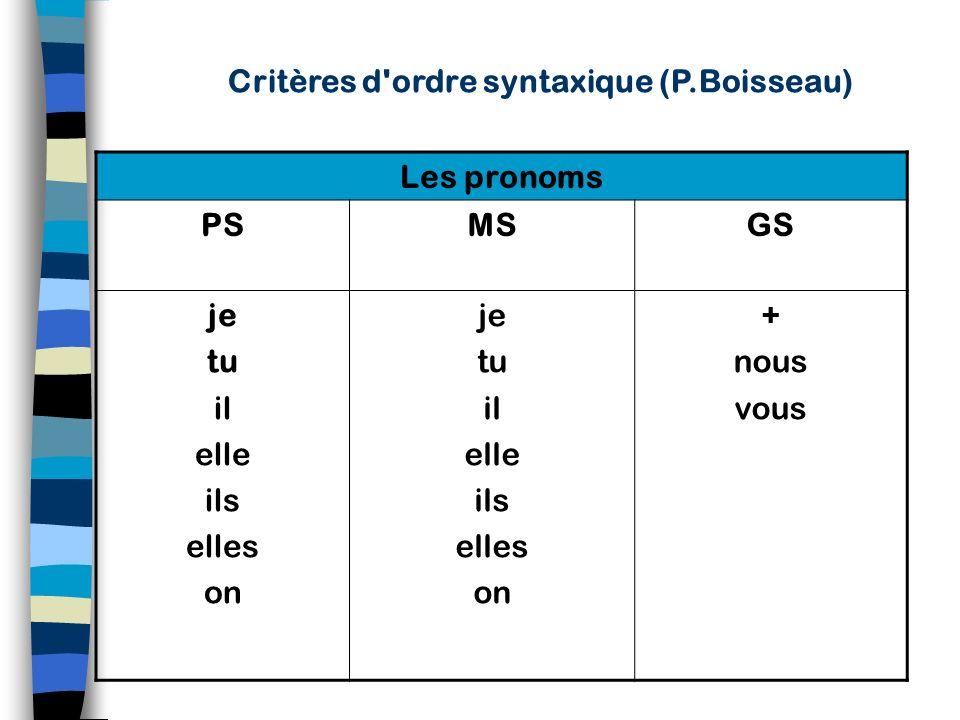 Critères d ordre syntaxique (P.Boisseau)