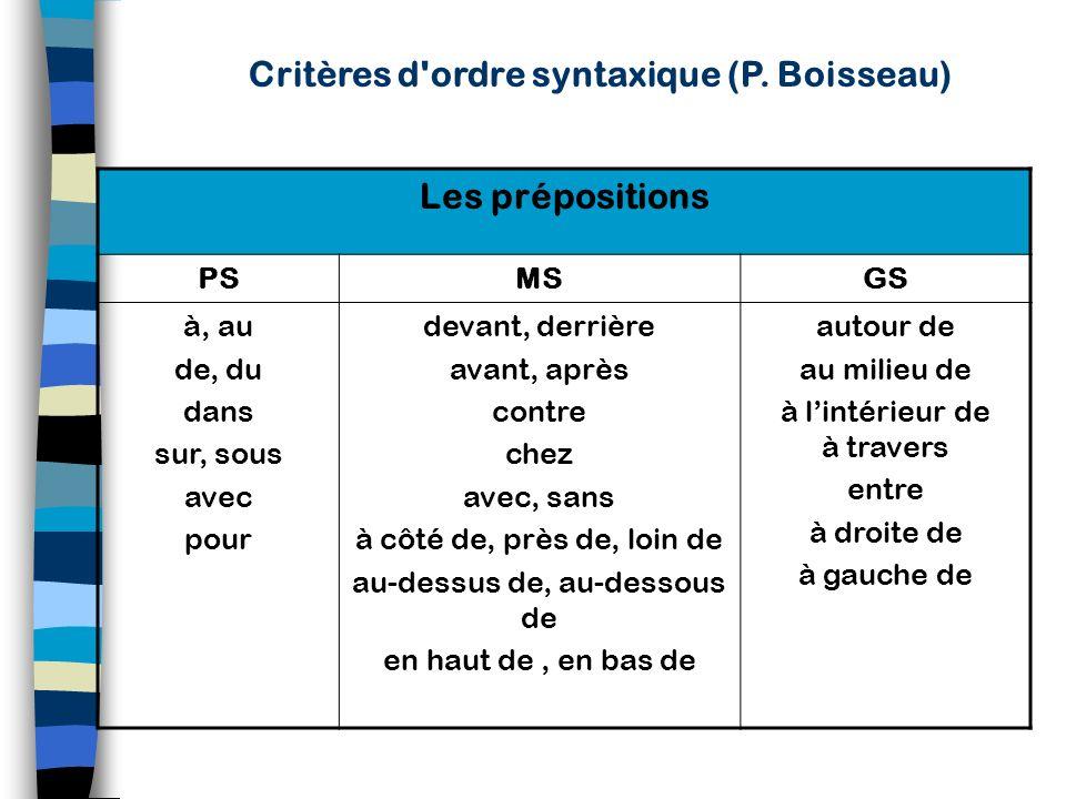 Critères d ordre syntaxique (P. Boisseau)