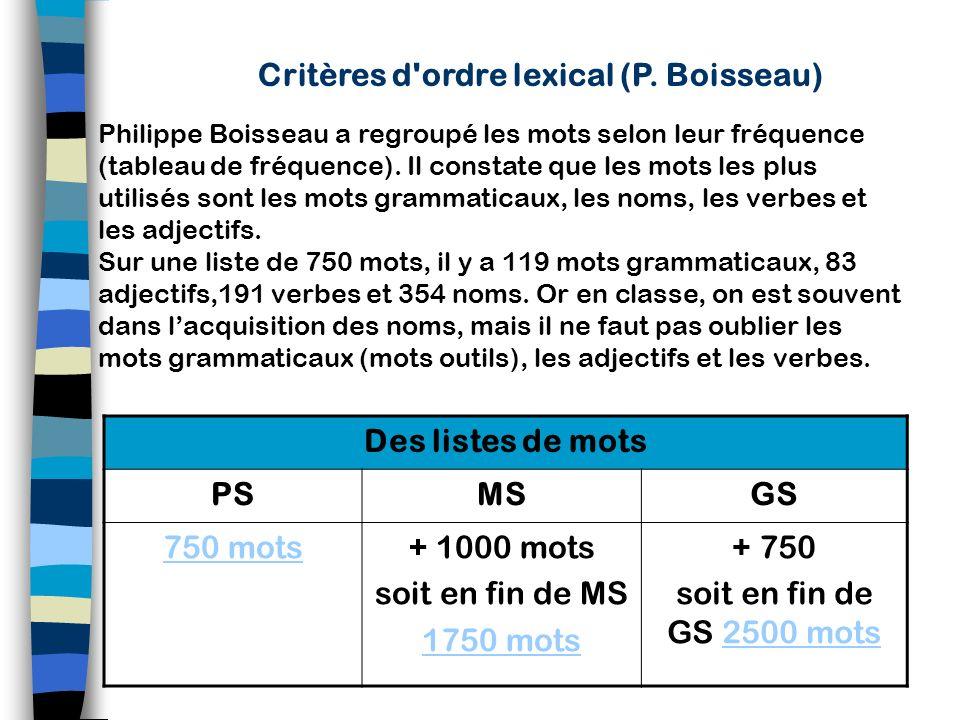 Critères d ordre lexical (P. Boisseau)